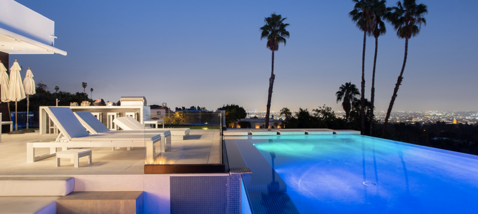 Poolside in a Beverly Hills Mansion.