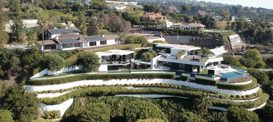 Beverly Hills mansion on a hill.