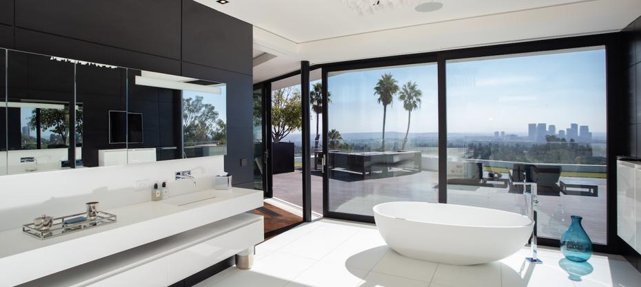 Sleek master bedroom & master bathroom